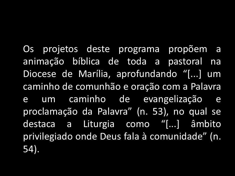 Os projetos deste programa propõem a animação bíblica de toda a pastoral na Diocese de Marília, aprofundando [...] um caminho de comunhão e oração com a Palavra e um caminho de evangelização e proclamação da Palavra (n.